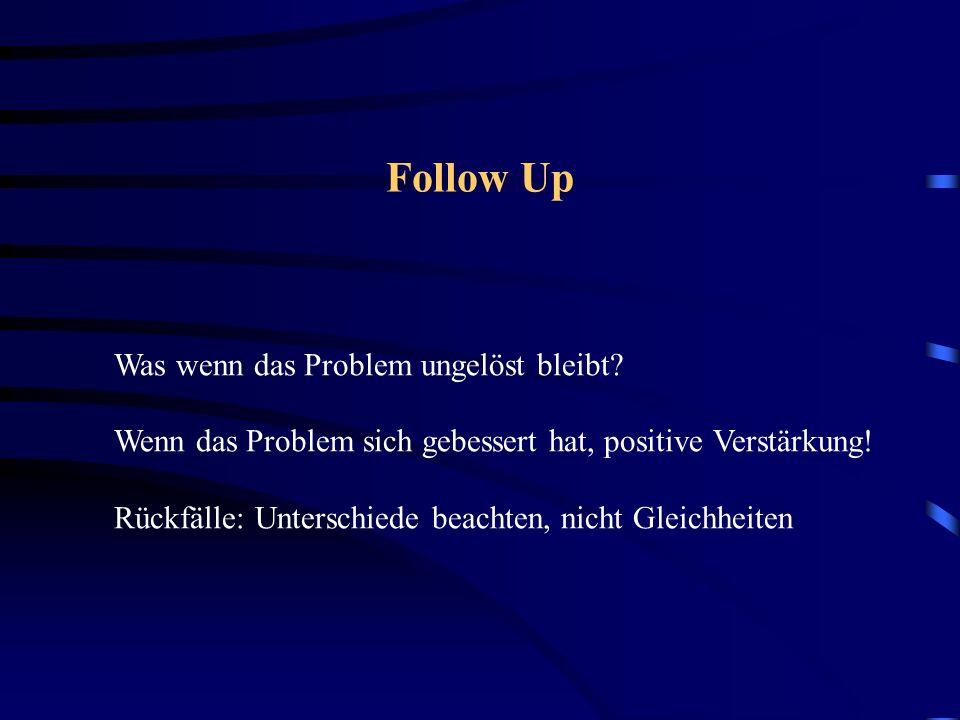 Was wenn das Problem ungelöst bleibt? Wenn das Problem sich gebessert hat, positive Verstärkung! Rückfälle: Unterschiede beachten, nicht Gleichheiten