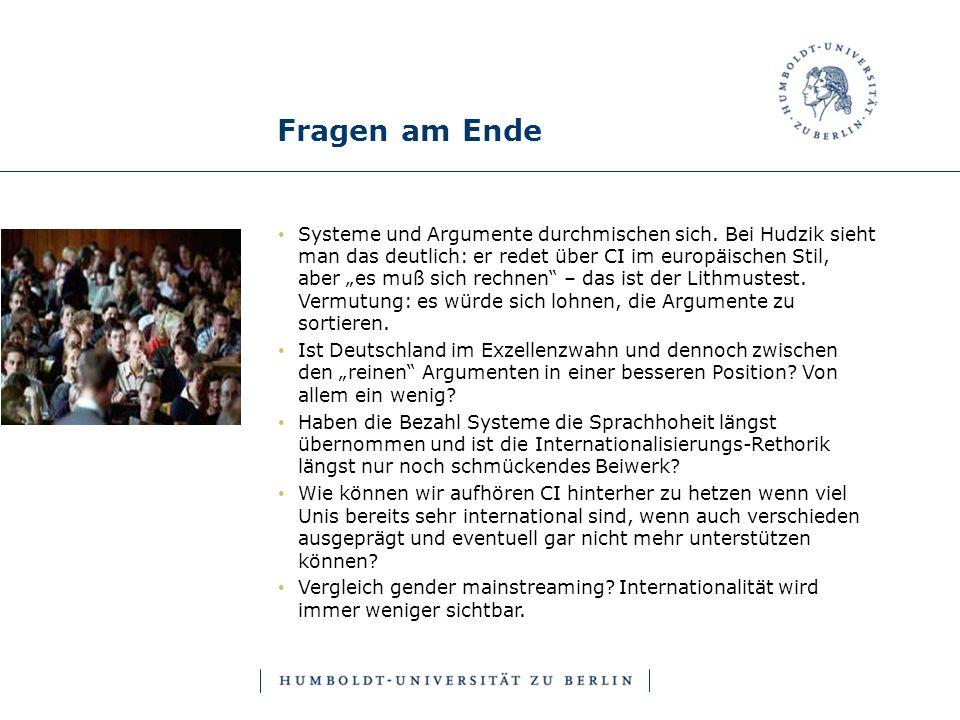 Fragen am Ende Systeme und Argumente durchmischen sich. Bei Hudzik sieht man das deutlich: er redet über CI im europäischen Stil, aber es muß sich rec