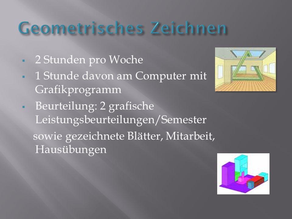 2 Stunden pro Woche 1 Stunde davon am Computer mit Grafikprogramm Beurteilung: 2 grafische Leistungsbeurteilungen/Semester sowie gezeichnete Blätter,