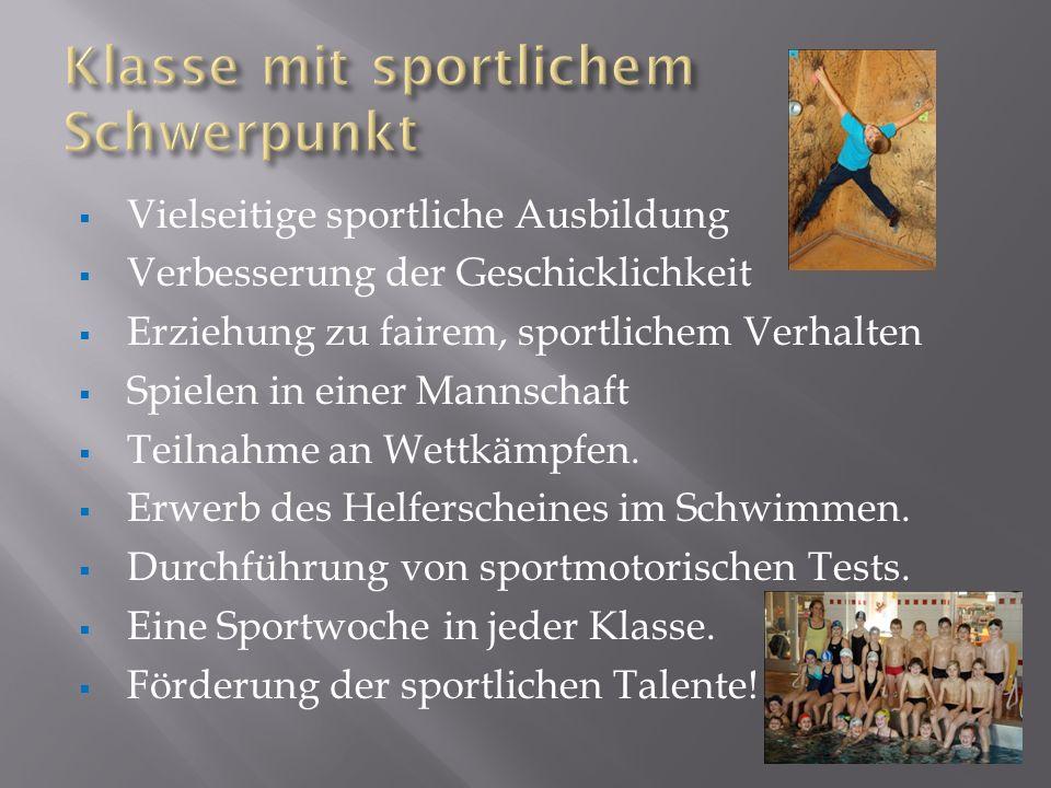 Vielseitige sportliche Ausbildung Verbesserung der Geschicklichkeit Erziehung zu fairem, sportlichem Verhalten Spielen in einer Mannschaft Teilnahme a