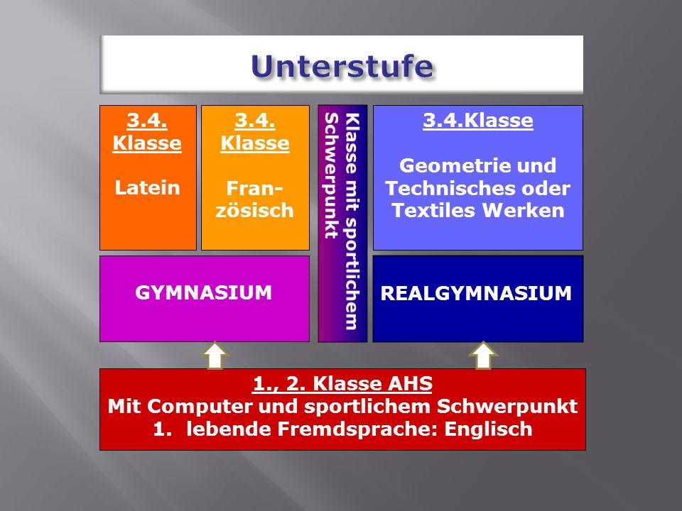 3.4. Klasse Latein 3.4. Klasse Fran- zösisch 3.4.Klasse Geometrie und Technisches oder Textiles Werken GYMNASIUM REALGYMNASIUM 1., 2. Klasse AHS Mit C