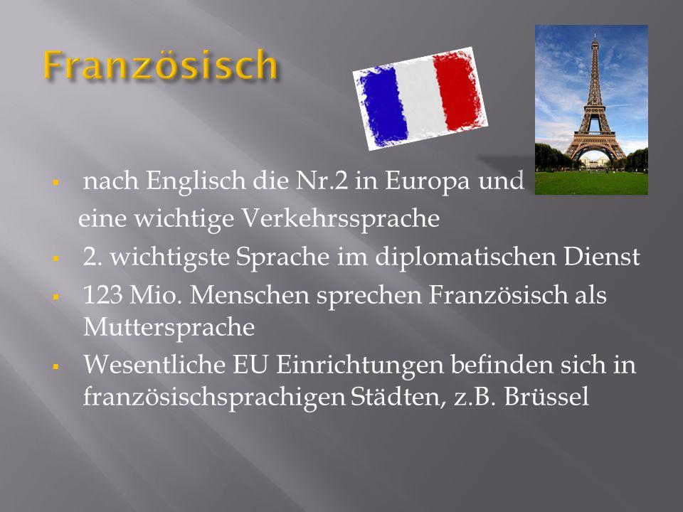 nach Englisch die Nr.2 in Europa und eine wichtige Verkehrssprache 2. wichtigste Sprache im diplomatischen Dienst 123 Mio. Menschen sprechen Französis