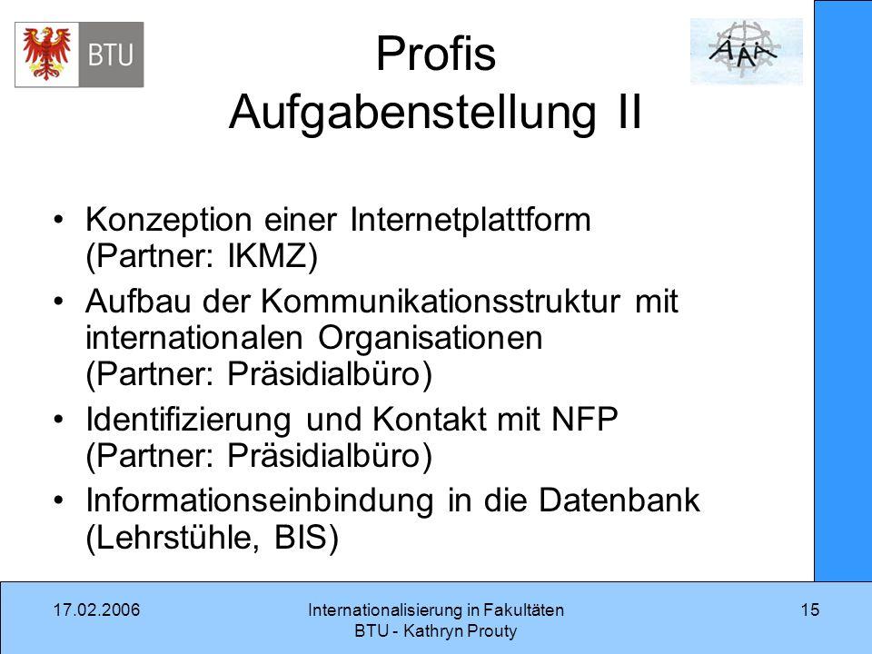 17.02.2006Internationalisierung in Fakultäten BTU - Kathryn Prouty 15 Profis Aufgabenstellung II Konzeption einer Internetplattform (Partner: IKMZ) Au