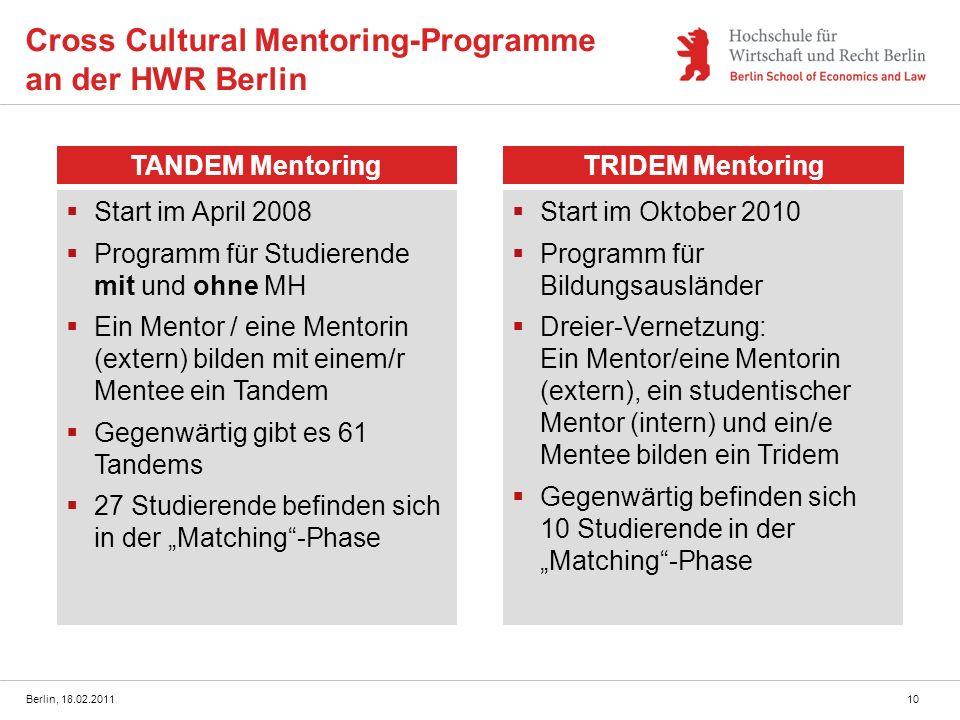 Berlin, 18.02.201110 Cross Cultural Mentoring-Programme an der HWR Berlin TANDEM MentoringTRIDEM Mentoring Start im April 2008 Programm für Studierend