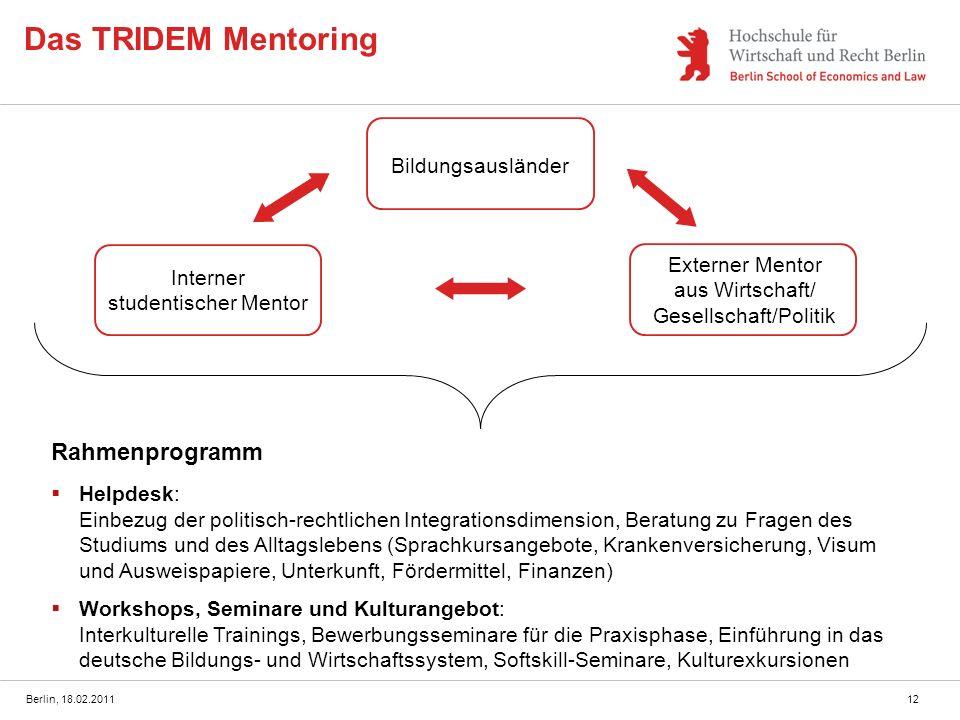 Berlin, 18.02.201112 Das TRIDEM Mentoring Bildungsausländer Interner studentischer Mentor Externer Mentor aus Wirtschaft/ Gesellschaft/Politik Rahmenp