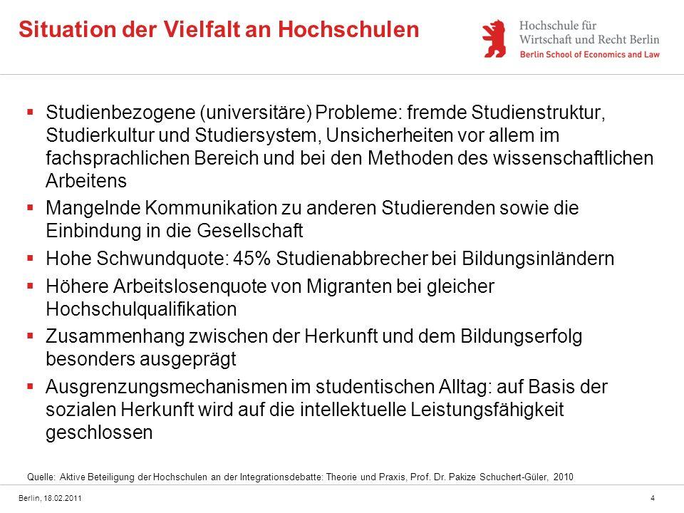 Berlin, 18.02.20115 Wertschätzung der Vielfalt im Bildungssektor Hochschulen haben die Möglichkeit, die Anerkennung benachteiligter Gruppen innerhalb und außerhalb der Hochschulen stärker zu fördern und damit einen Beitrag zur kulturell-emotionalen Integration (Wertschätzung) zu leisten Ziel ist es jedoch, Vielfalt nicht nur zu lehren, sondern auch vorzuleben Ansatz: Cross Cultural Mentoring (CCM) kann zusätzlich zu den Lehrangeboten als praktische Maßnahme dazu beitragen, eine positive Wahrnehmung und Einstellungsbildung zur Vielfalt zu fördern und gleichzeitig eine Chancengleichheit anstreben.