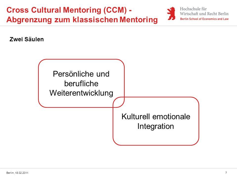 Berlin, 18.02.20117 Cross Cultural Mentoring (CCM) - Abgrenzung zum klassischen Mentoring Zwei Säulen Persönliche und berufliche Weiterentwicklung Kul