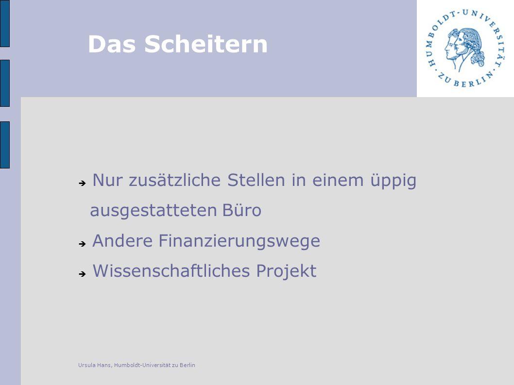 Das Scheitern Nur zusätzliche Stellen in einem üppig ausgestatteten Büro Andere Finanzierungswege Wissenschaftliches Projekt Ursula Hans, Humboldt-Universität zu Berlin