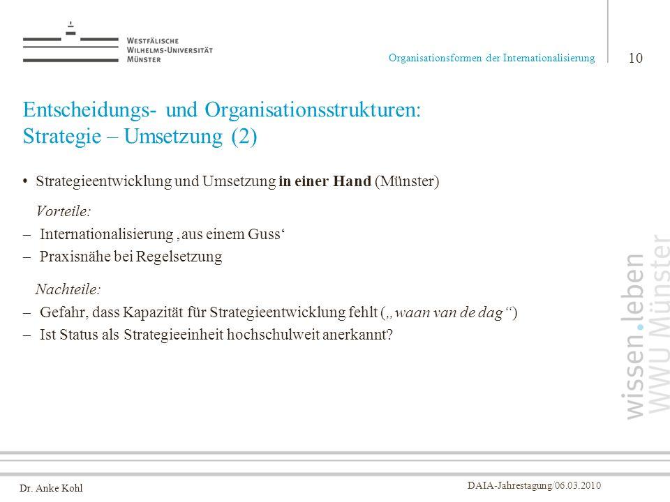 Dr. Anke Kohl DAIA-Jahrestagung/06.03.2010 Entscheidungs- und Organisationsstrukturen: Strategie – Umsetzung (2) Strategieentwicklung und Umsetzung in