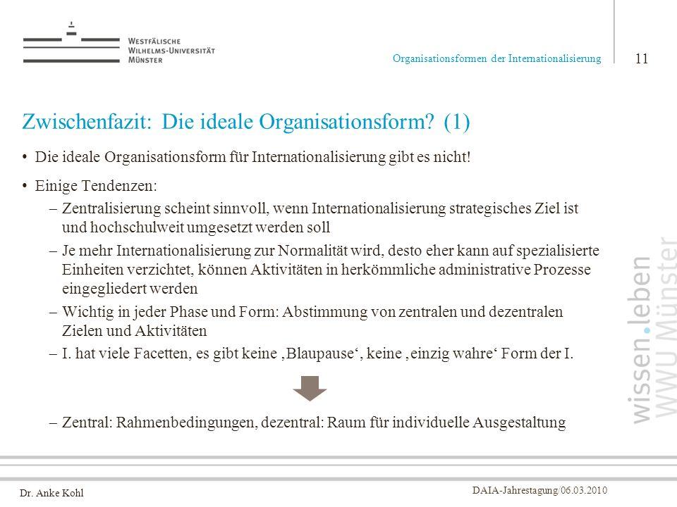 Dr. Anke Kohl DAIA-Jahrestagung/06.03.2010 Zwischenfazit: Die ideale Organisationsform? (1) Die ideale Organisationsform für Internationalisierung gib