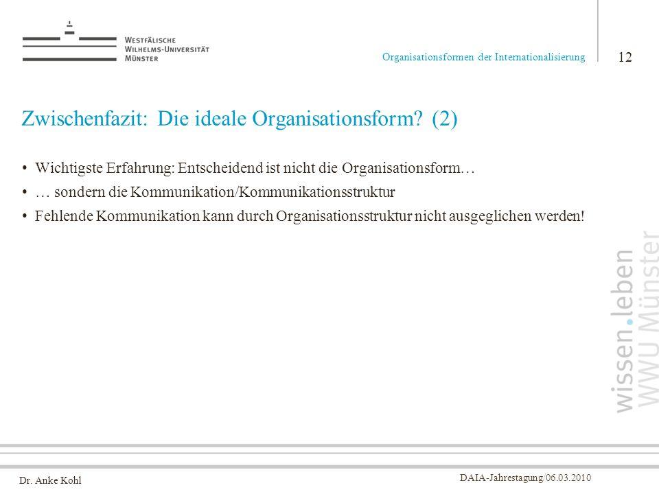 Dr. Anke Kohl DAIA-Jahrestagung/06.03.2010 Zwischenfazit: Die ideale Organisationsform? (2) Wichtigste Erfahrung: Entscheidend ist nicht die Organisat