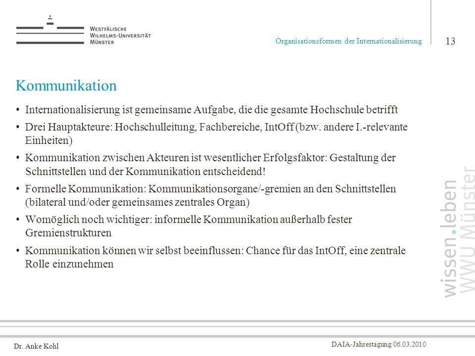 Dr. Anke Kohl DAIA-Jahrestagung/06.03.2010 Kommunikation Internationalisierung ist gemeinsame Aufgabe, die die gesamte Hochschule betrifft Drei Haupta