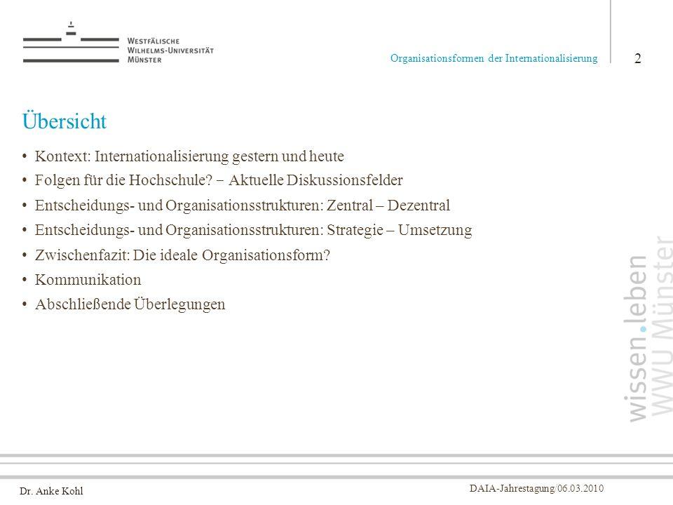 Dr. Anke Kohl DAIA-Jahrestagung/06.03.2010 Übersicht Kontext: Internationalisierung gestern und heute Folgen für die Hochschule? - Aktuelle Diskussion