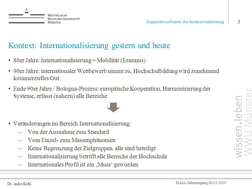 Dr. Anke Kohl DAIA-Jahrestagung/06.03.2010 Kontext: Internationalisierung gestern und heute 80er Jahre: Internationalisierung = Mobilität (Erasmus) 90