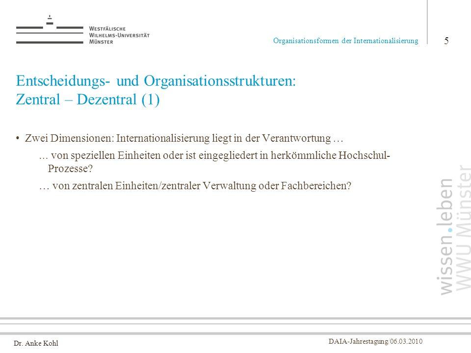 Dr. Anke Kohl DAIA-Jahrestagung/06.03.2010 Entscheidungs- und Organisationsstrukturen: Zentral – Dezentral (1) Zwei Dimensionen: Internationalisierung