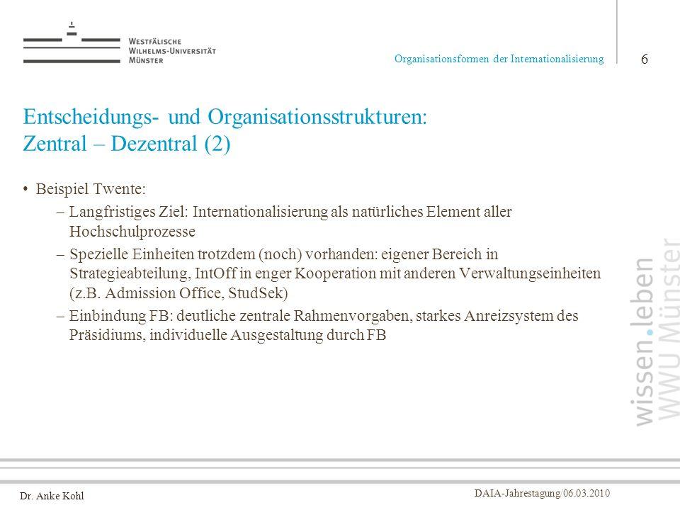 Dr. Anke Kohl DAIA-Jahrestagung/06.03.2010 Entscheidungs- und Organisationsstrukturen: Zentral – Dezentral (2) Beispiel Twente: Langfristiges Ziel: In