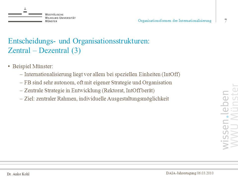 Dr. Anke Kohl DAIA-Jahrestagung/06.03.2010 Entscheidungs- und Organisationsstrukturen: Zentral – Dezentral (3) Beispiel Münster: Internationalisierung