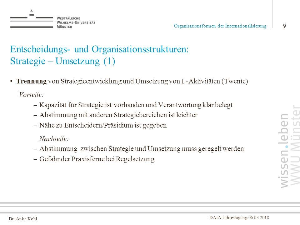 Dr. Anke Kohl DAIA-Jahrestagung/06.03.2010 Entscheidungs- und Organisationsstrukturen: Strategie – Umsetzung (1) Trennung von Strategieentwicklung und