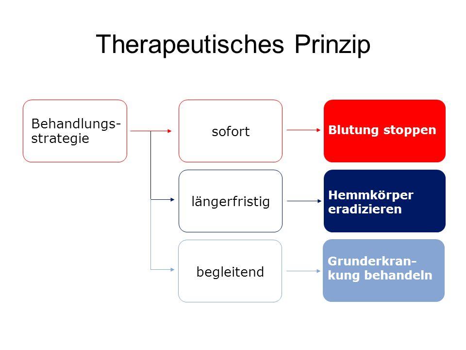 Therapeutisches Prinzip begleitend Grunderkran- kung behandeln Behandlungs- strategie Blutung stoppen sofort längerfristig Hemmkörper eradizieren