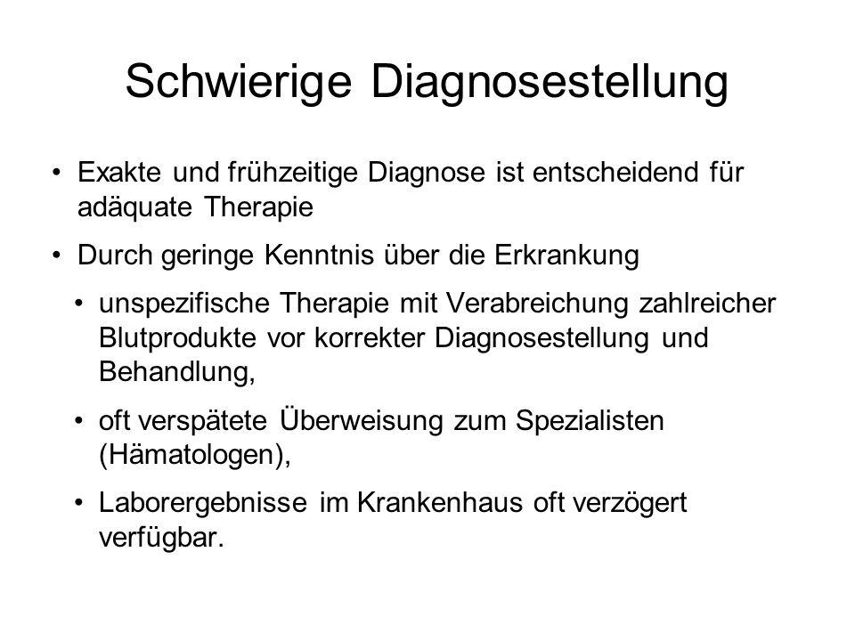 Schwierige Diagnosestellung Exakte und frühzeitige Diagnose ist entscheidend für adäquate Therapie Durch geringe Kenntnis über die Erkrankung unspezif