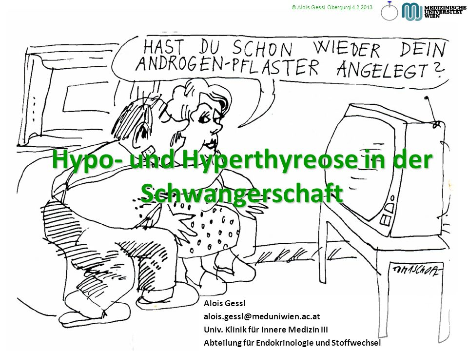 Hypo- und Hyperthyreose in der Schwangerschaft Alois Gessl alois.gessl@meduniwien.ac.at Univ. Klinik für Innere Medizin III Abteilung für Endokrinolog