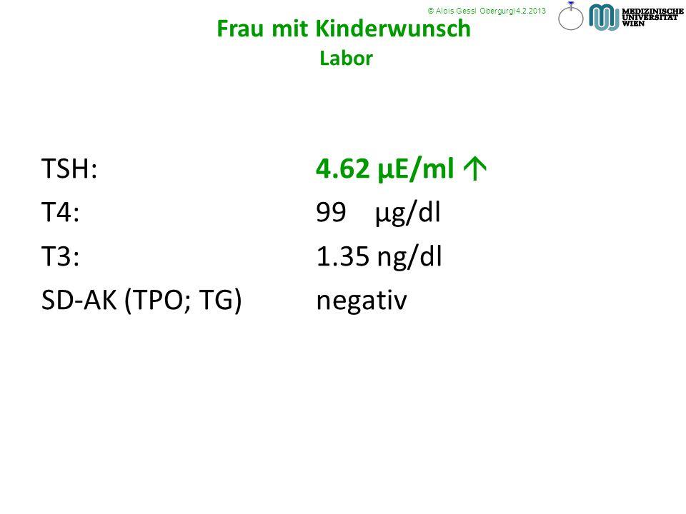 TSH: 4.62 µE/ml T4:99 µg/dl T3:1.35 ng/dl SD-AK (TPO; TG) negativ © Alois Gessl Obergurgl 4.2.2013 Frau mit Kinderwunsch Labor