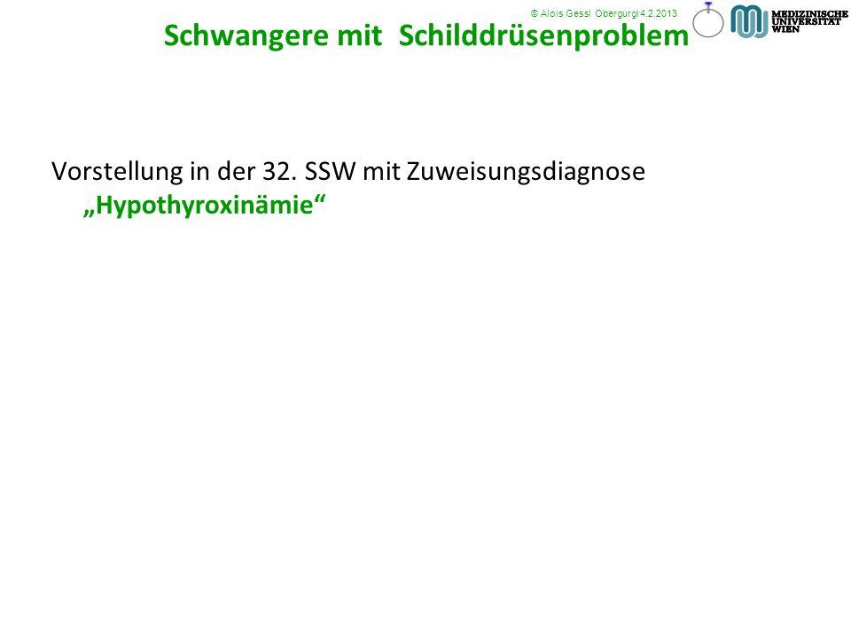 Vorstellung in der 32. SSW mit Zuweisungsdiagnose Hypothyroxinämie © Alois Gessl Obergurgl 4.2.2013 Schwangere mit Schilddrüsenproblem Schilddrüsenpro