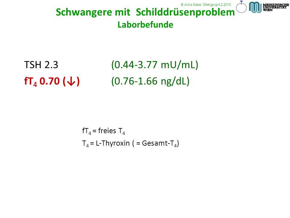 TSH 2.3 (0.44-3.77 mU/mL) fT 4 0.70 () (0.76-1.66 ng/dL) fT 4 = freies T 4 T 4 = L-Thyroxin ( = Gesamt-T 4 ) © Alois Gessl Obergurgl 4.2.2013 Schwange