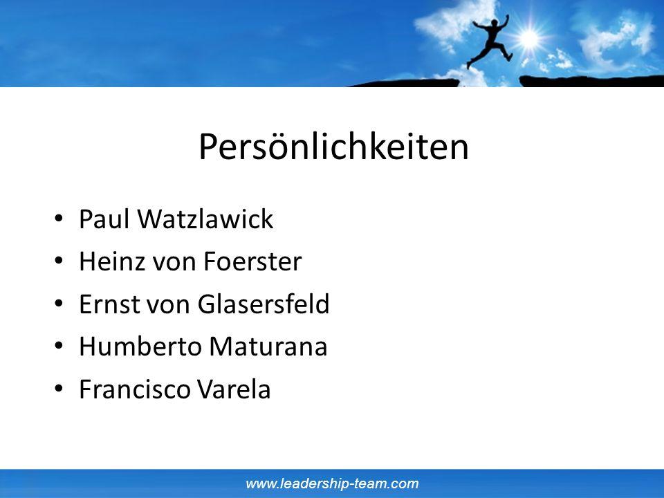 www.leadership-team.com Persönlichkeiten Paul Watzlawick Heinz von Foerster Ernst von Glasersfeld Humberto Maturana Francisco Varela