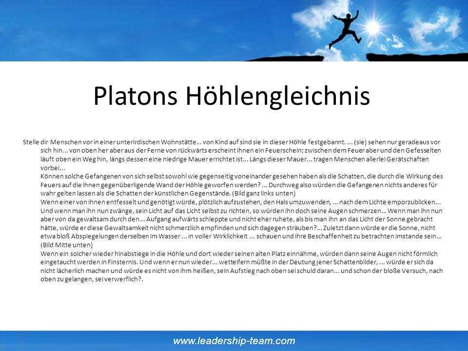 www.leadership-team.com Platons Höhlengleichnis Stelle dir Menschen vor in einer unterirdischen Wohnstätte...