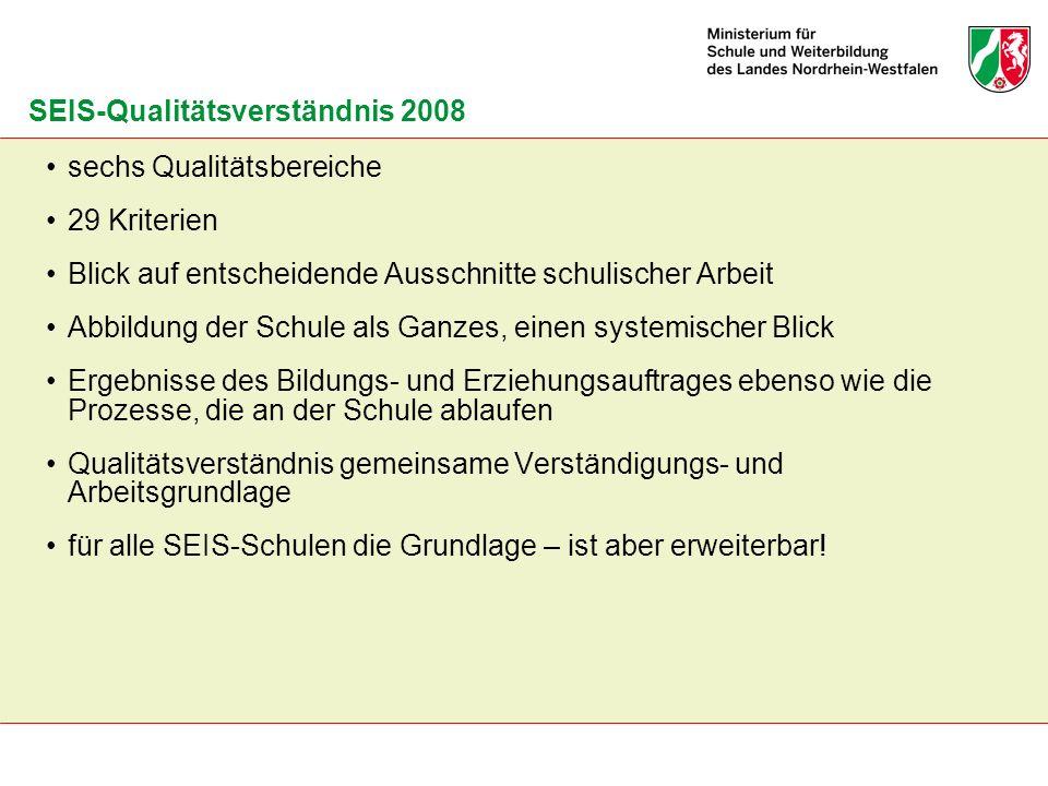 SEIS-Qualitätsverständnis 2008 sechs Qualitätsbereiche 29 Kriterien Blick auf entscheidende Ausschnitte schulischer Arbeit Abbildung der Schule als Ga