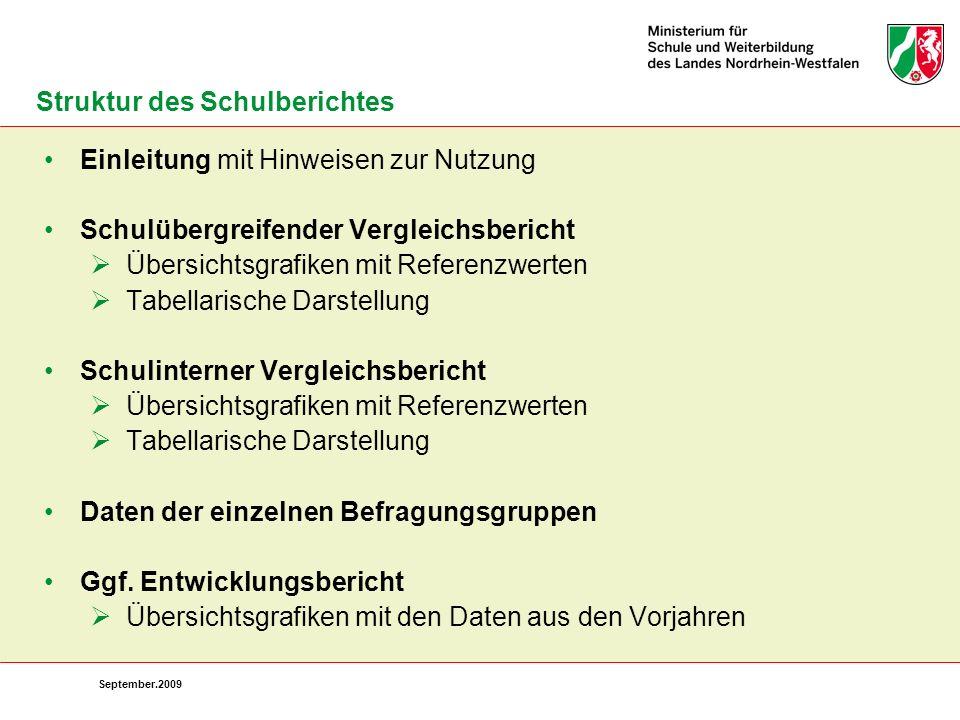September.2009 Einleitung mit Hinweisen zur Nutzung Schulübergreifender Vergleichsbericht Übersichtsgrafiken mit Referenzwerten Tabellarische Darstell