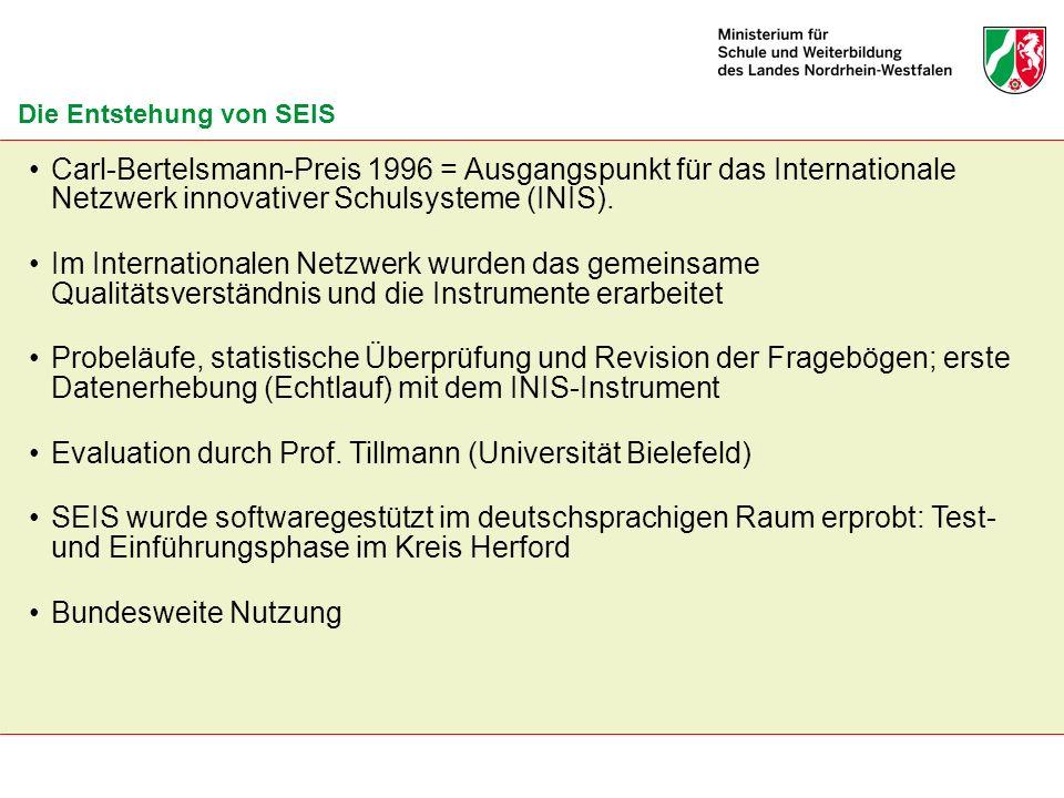 Die Entstehung von SEIS Carl-Bertelsmann-Preis 1996 = Ausgangspunkt für das Internationale Netzwerk innovativer Schulsysteme (INIS). Im Internationale