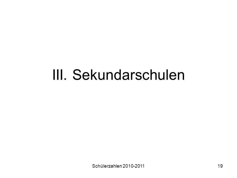 Schülerzahlen 2010-201119 III. Sekundarschulen