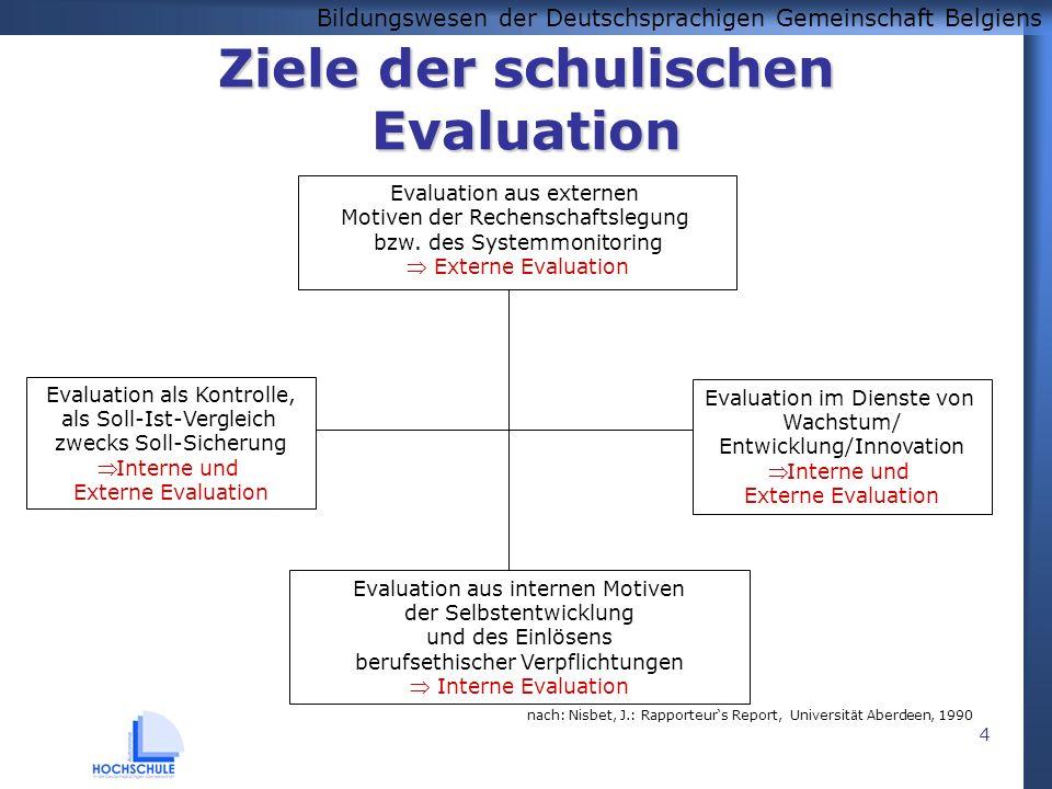 Bildungswesen der Deutschsprachigen Gemeinschaft Belgiens 4 Ziele der schulischen Evaluation Evaluation im Dienste von Wachstum/ Entwicklung/Innovatio