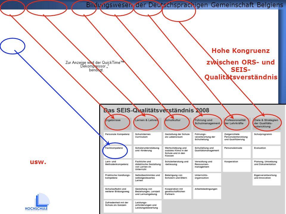 Bildungswesen der Deutschsprachigen Gemeinschaft Belgiens 5 Hohe Kongruenz zwischen ORS- und SEIS- Qualitätsverständnis usw.