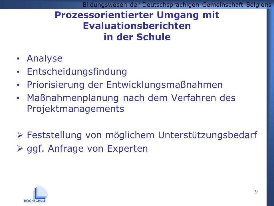 Bildungswesen der Deutschsprachigen Gemeinschaft Belgiens 9 Prozessorientierter Umgang mit Evaluationsberichten in der Schule Analyse Entscheidungsfin