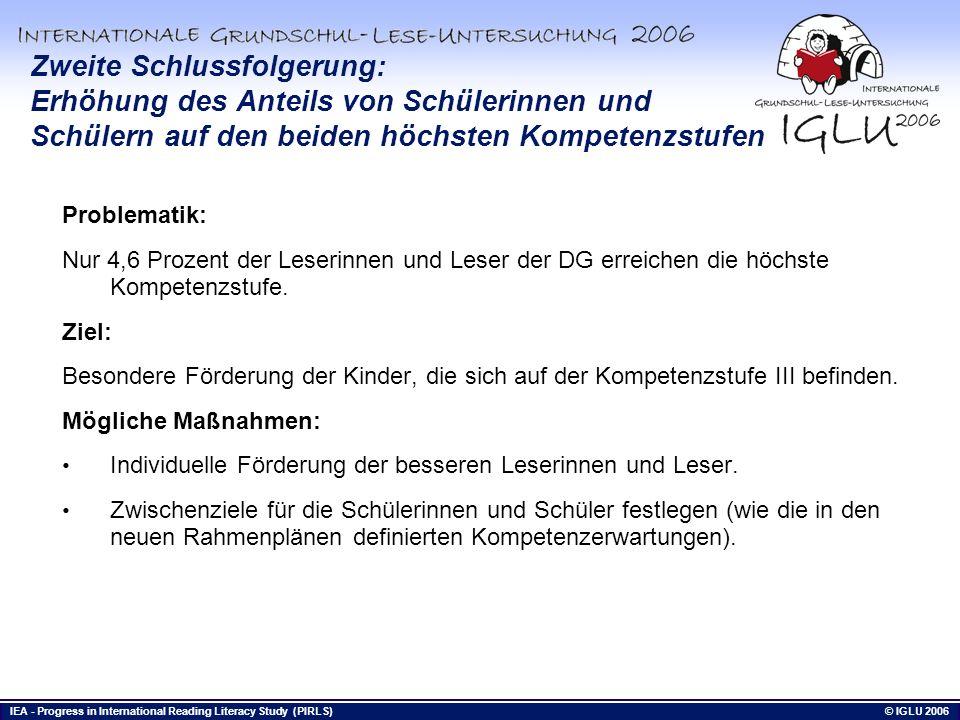 IEA - Progress in International Reading Literacy Study (PIRLS) © IGLU 2006 Bis hierhin Zweite Schlussfolgerung: Erhöhung des Anteils von Schülerinnen