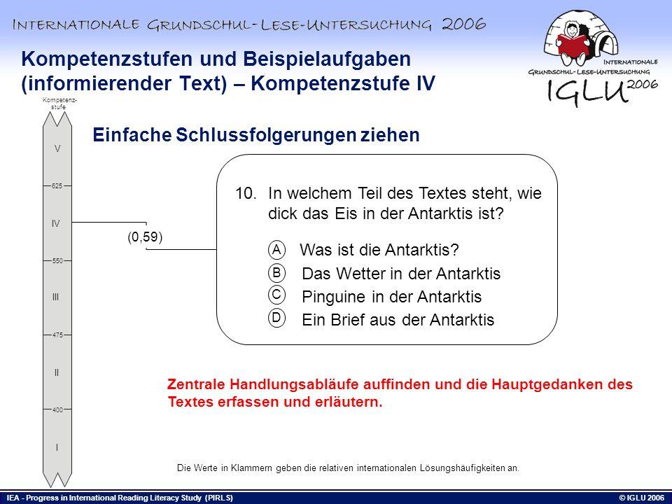 IEA - Progress in International Reading Literacy Study (PIRLS) © IGLU 2006 Bis hierhin Zentrale Handlungsabläufe auffinden und die Hauptgedanken des T
