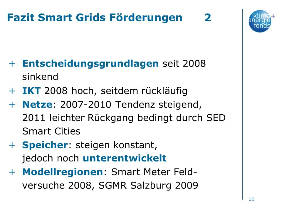 Fazit Smart Grids Förderungen2 +Entscheidungsgrundlagen seit 2008 sinkend +IKT 2008 hoch, seitdem rückläufig +Netze: 2007-2010 Tendenz steigend, 2011 leichter Rückgang bedingt durch SED Smart Cities +Speicher: steigen konstant, jedoch noch unterentwickelt +Modellregionen: Smart Meter Feld- versuche 2008, SGMR Salzburg 2009 10