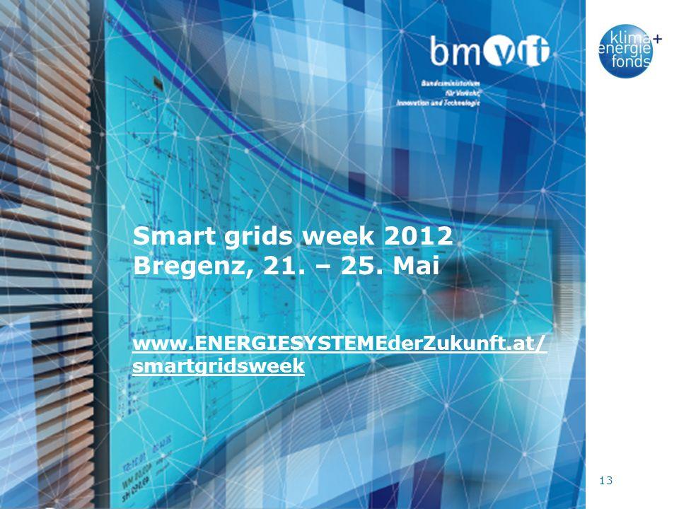 13 Smart grids week 2012 Bregenz, 21. – 25. Mai www.ENERGIESYSTEMEderZukunft.at/ smartgridsweek