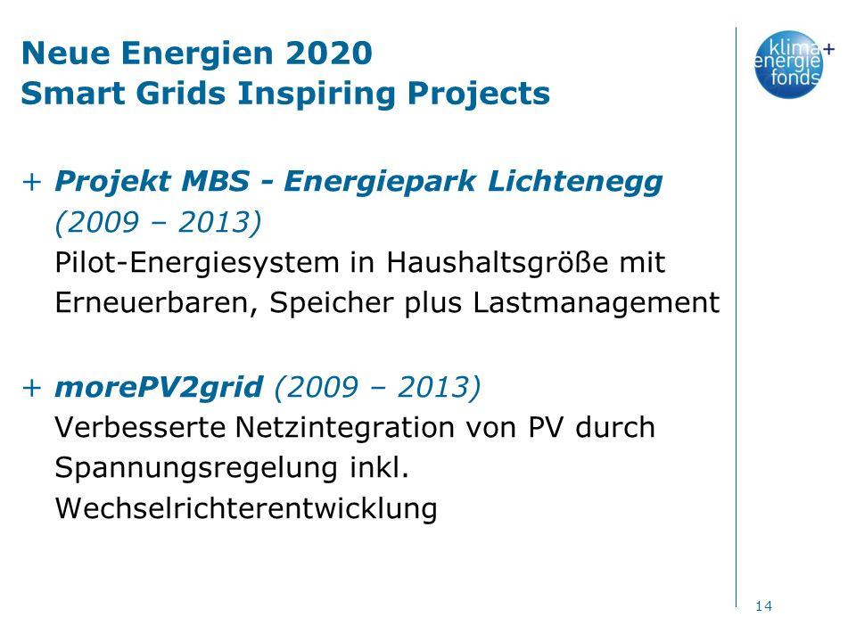 Neue Energien 2020 Smart Grids Inspiring Projects +Projekt MBS - Energiepark Lichtenegg (2009 – 2013) Pilot-Energiesystem in Haushaltsgröße mit Erneuerbaren, Speicher plus Lastmanagement +morePV2grid (2009 – 2013) Verbesserte Netzintegration von PV durch Spannungsregelung inkl.