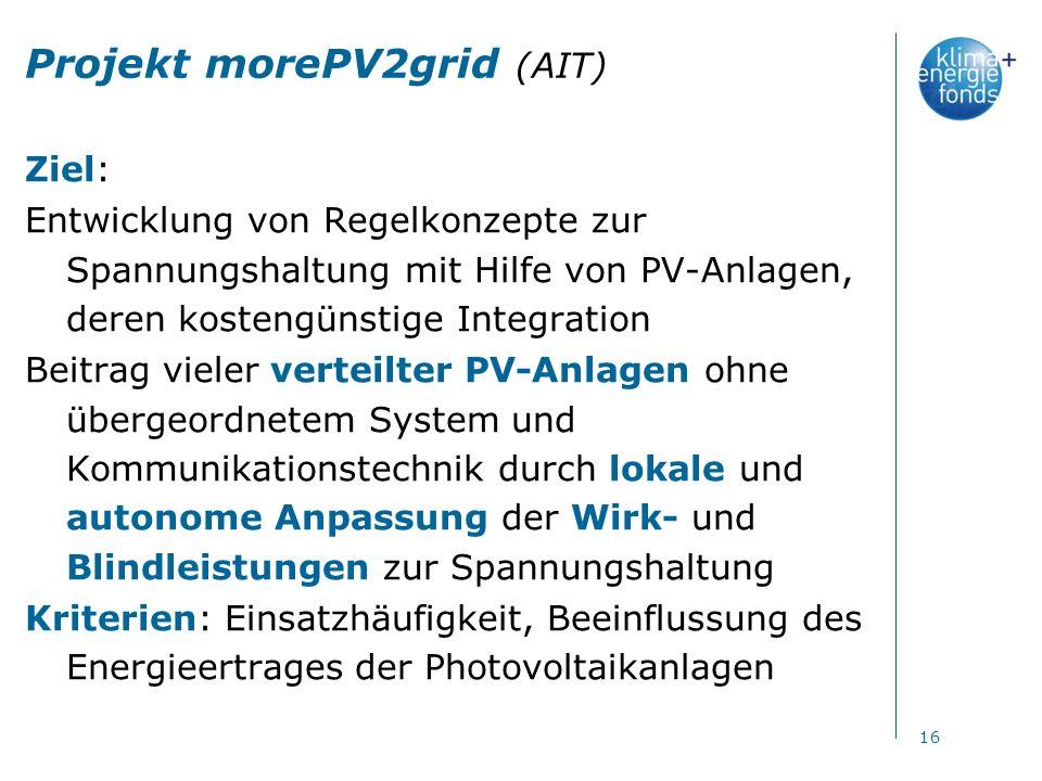 Projekt morePV2grid (AIT) Ziel: Entwicklung von Regelkonzepte zur Spannungshaltung mit Hilfe von PV-Anlagen, deren kostengünstige Integration Beitrag