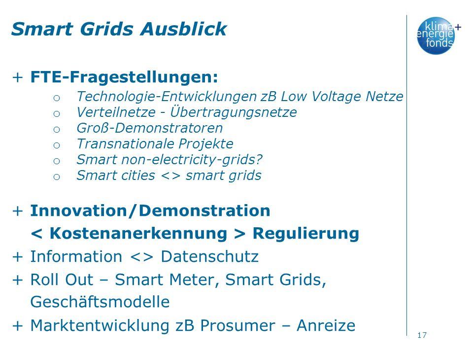 Smart Grids Ausblick +FTE-Fragestellungen: o Technologie-Entwicklungen zB Low Voltage Netze o Verteilnetze - Übertragungsnetze o Groß-Demonstratoren o Transnationale Projekte o Smart non-electricity-grids.