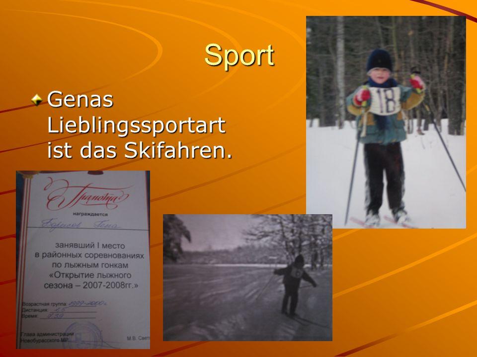 Sport Genas Lieblingssportart ist das Skifahren.