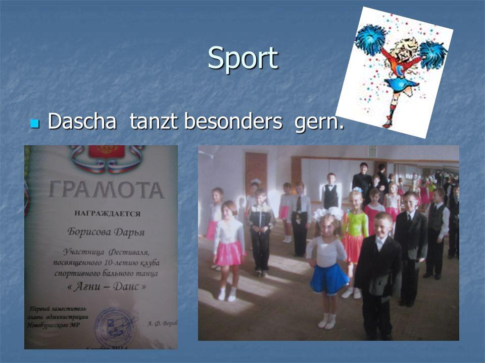 Sport Dascha tanzt besonders gern. Dascha tanzt besonders gern.
