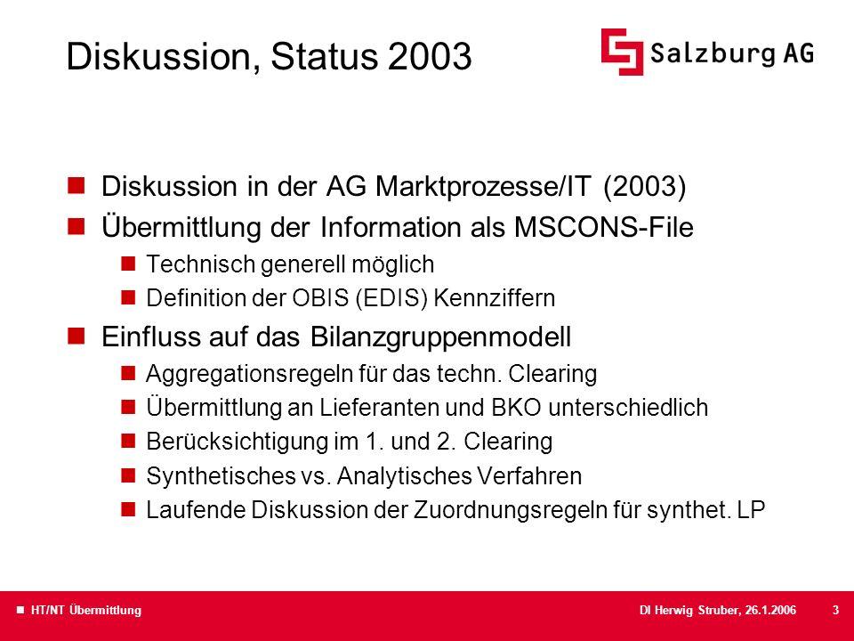 DI Herwig Struber, 26.1.2006 HT/NT Übermittlung3 Diskussion, Status 2003 Diskussion in der AG Marktprozesse/IT (2003) Übermittlung der Information als MSCONS-File Technisch generell möglich Definition der OBIS (EDIS) Kennziffern Einfluss auf das Bilanzgruppenmodell Aggregationsregeln für das techn.