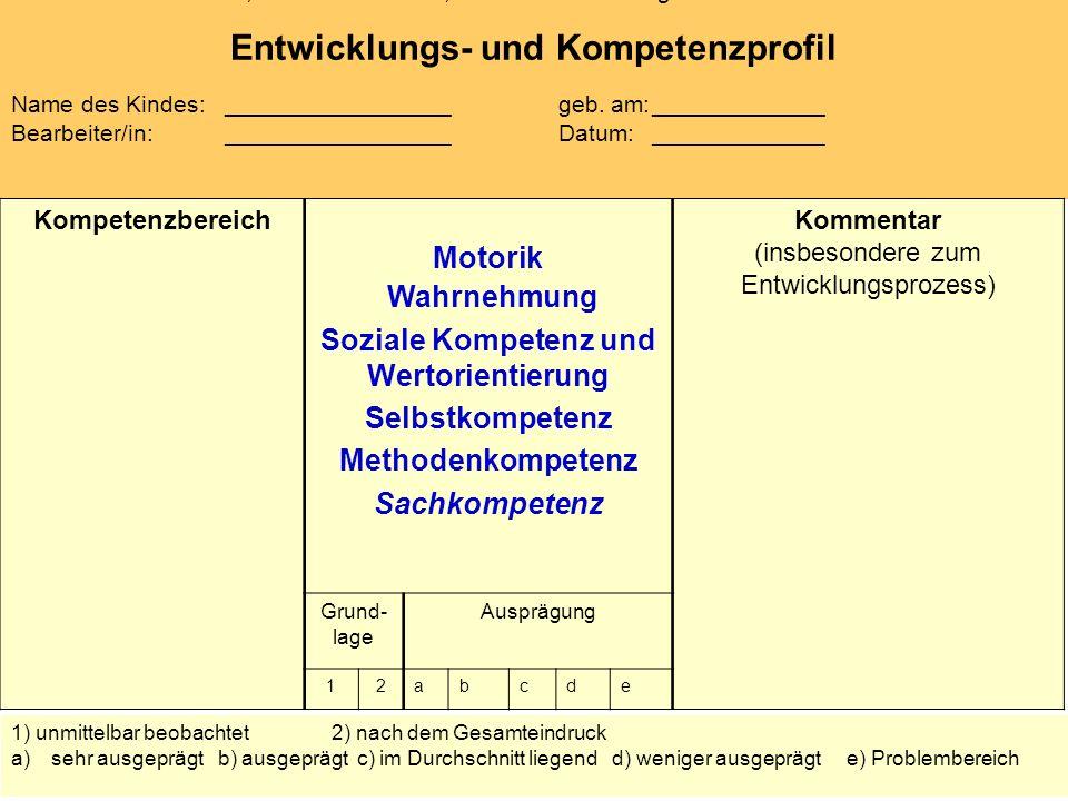 Prof. Dr. Tassilo Knauf, Dr. Elke Schubert, Universität Duisburg–Essen Entwicklungs- und Kompetenzprofil Name des Kindes: _________________ geb. am:__