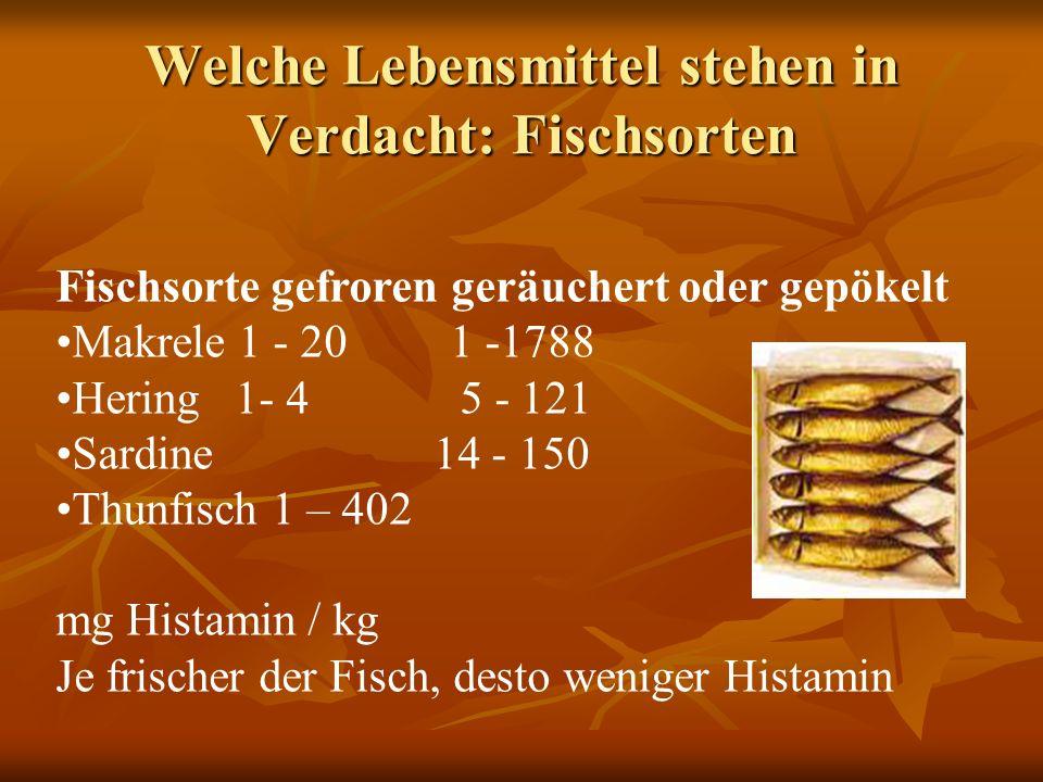 Welche Lebensmittel stehen in Verdacht: Fischsorten Fischsorte gefroren geräuchert oder gepökelt Makrele 1 - 20 1 -1788 Hering 1- 4 5 - 121 Sardine 14 - 150 Thunfisch 1 – 402 mg Histamin / kg Je frischer der Fisch, desto weniger Histamin