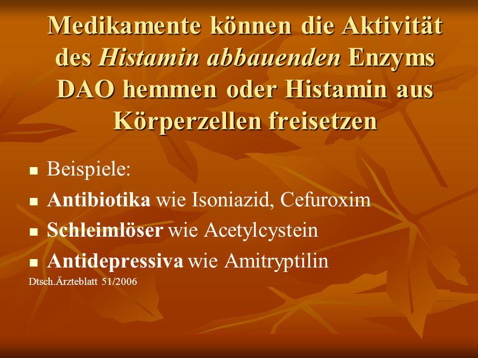 Medikamente können die Aktivität des Histamin abbauenden Enzyms DAO hemmen oder Histamin aus Körperzellen freisetzen Beispiele: Antibiotika wie Isoniazid, Cefuroxim Schleimlöser wie Acetylcystein Antidepressiva wie Amitryptilin Dtsch.Ärzteblatt 51/2006